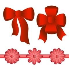 Five bright red bows of different shapes vector image vector image