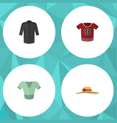 Flat icon clothes set of elegant headgear casual vector