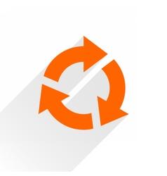 Flat orange arrow icon rotation sign on white vector