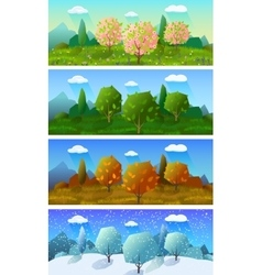 Four seasons landscape banners set vector
