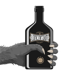 Gorilla hand with bottle vector