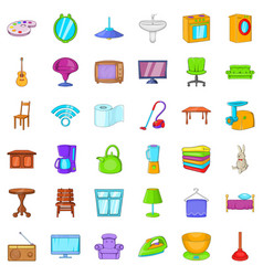 house furniture icons set cartoon style vector image vector image