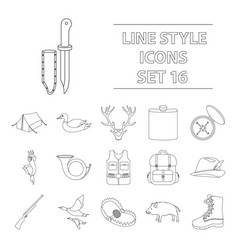 Hunting set icons in outline style big collection vector