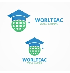 logo combination of a graduation cap and vector image vector image