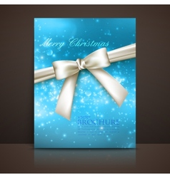 Merry Christmas shiny blue holiday background with vector image