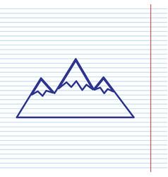 Mountain sign navy line icon vector