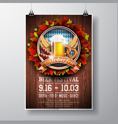 Oktoberfest poster with fresh lager beer on wood vector