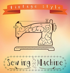 Old retro sewing machine with floral ornament on vector