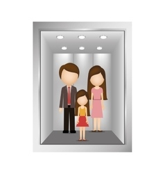 Picture open building elevator with people inside vector