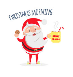 Santa claus with cup of coffee and tasty biscuit vector