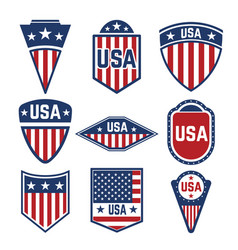 set of the usa labels emblems with american flags vector image