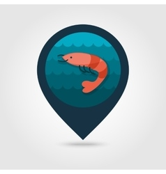 Shrimp pin map icon Prawn Summer Vacation vector image vector image