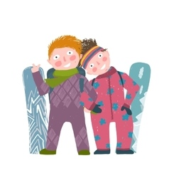 Skiing sport child girl and boy in winter clothes vector