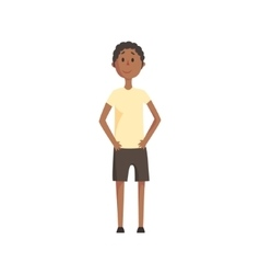 Skinny Teenage Black Boy SmilingPart Of Family vector image vector image