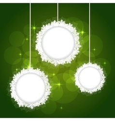 snowflakes frame on green backgournd vector image vector image