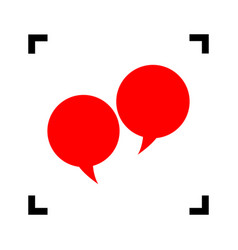 speech bubble sign red icon inside black vector image vector image
