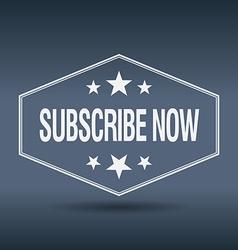 Subscribe now hexagonal white vintage retro style vector