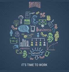 time to work hand drawn icons vector image