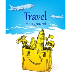 Travel background color vector image vector image