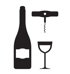 Wine bottle glass and corkscrew icons vector