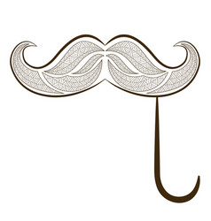 Zen tangle fake mustache zentangle whisker vector