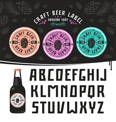 Craft beer label and sanserif font vector