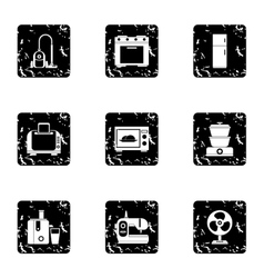 Technique icons set grunge style vector