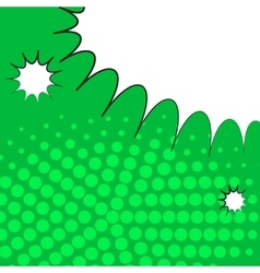 Comic pop art green background with halftone vector image