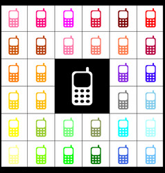 cell phone sign  felt-pen 33 colorful vector image