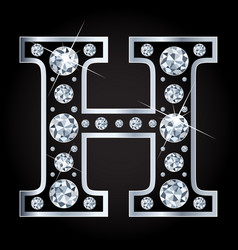 H letter made with diamonds isolated on vector