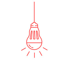 red thin line led bulb vector image