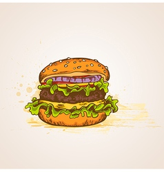 Vintage hand drawn hamburger vector image