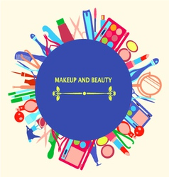 Makeup and beauty cosmetic symbols vector