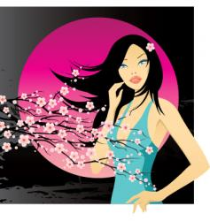 Girl japan night vector