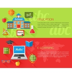 Set of education and e-learning concept banners vector