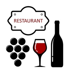Restaurant icon with grapes and wine glass vector
