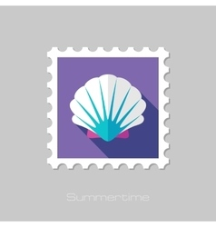 Seashell flat stamp with long shadow vector