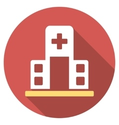 Hospital building flat round icon with long shadow vector