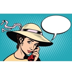 Retro woman talking on the phone vector