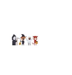 8bit halloween characters vector