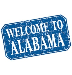 Welcome to alabama blue square grunge stamp vector
