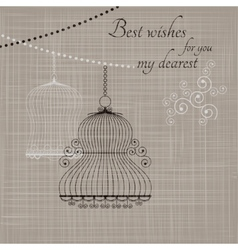 Birdcage on the fabric background vector
