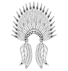 Bohemian zentangle war bonnet with feathers vector