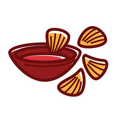Bowl of chili sause with crispy nachos isolated vector