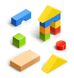 Brick house wooden toy set vector