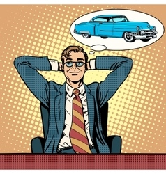 Businessman dreaming about a car vector