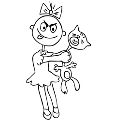 Childrens cruelty girl torturing a cat humor vector image
