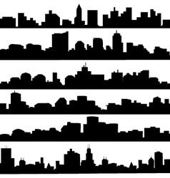city skyline Silhouette set vector image vector image