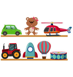 Different types of toys on wooden shelves vector