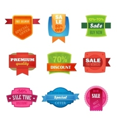 Discount sale sticker isolated set vector